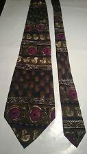 J. Garcia Men's Vintage Silk Tie in Olive Green Purple and Black Retro Pattern