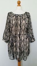 Dorothy Perkins Black Brown Animal Print Belted Long Top Size 12