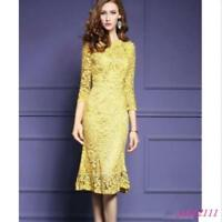 New Womens Lace Fishtail Hem 3/4 Sleeve Cocktail Party Dress Prom Size Yellow