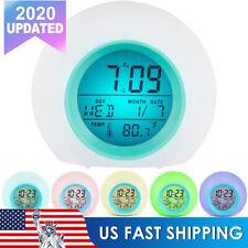 6 Color Night Light Alarm Clock LCD Display Digital Snooze Smart Alarm Clock US