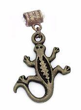 Lizard Gecko Iguana Reptile Brown Bronze Dangle Charm for European Bracelets