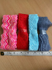 Job lot 4 Bundles Mixed Colours Craft Dress Sew Stretchy Lace Over 8 Metres