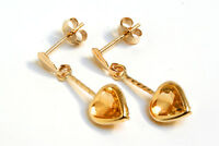 9ct Gold Citrine Heart Drop dangly earrings Gift Boxed Made in UK Xmas Gift