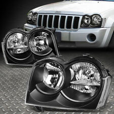 For 2005 2007 Jeep Grand Cherokee Pair Black Housing Clear Side Headlight Lamp Fits