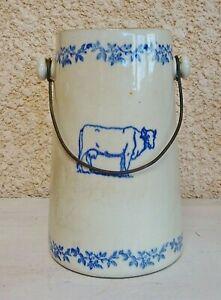 Ancien authentique grand pot à lait en SAINT UZE à décor de vache