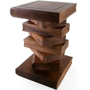 Hand Carved Acacia Wood Honey Stacked Book Table Side Wooden Stool Lamp Stand