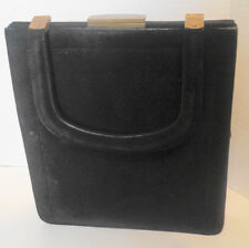 Vintage Black Kid Suede Koret Rectangular Handbag Purse Koretolope