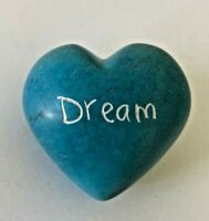 SOAPSTONE HEART Hand Carved Blue DREAM Pocket Worry Stone Paperweight 2""