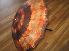 Vintage 1970s Umbrella MOD Fashion-Hippie- Boho-Wooden Handle-Super Cute!