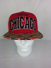 City Hunter Chicago Aztec Cap Hat Adult Adjustable Red & Black Acrylic Cotton