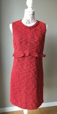 Anthropologie Hi There Karen Walker Boucle Tweed Sheath Red Dress, Size 6