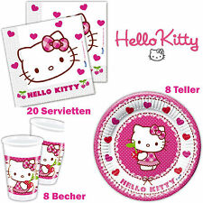 Hello Kitty Set: 36-tlg Servietten Teller Becher Kinder Geburtstag Partygeschirr