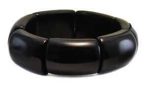 Obsidian Bracelet Black Large Chunky Bangle Style 6 7 Inch Adjustable Stretchy