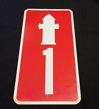 Metal Fire Hydrant Number #1 Sign Red/White Outdoor Station Service 1 ft X 2 ft