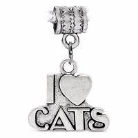 I Heart Cats Love Pet Kitten Word Dangle Charm for Silver European Bead Bracelet