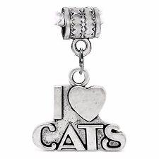 I Heart Cats Love Pet Kitten Word Dangle Charm for Silver European Bead Bracelet