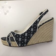 """Ladies Shoes Sandals 7 Black White GUESS Marciano Logo Espadrille 4.5"""" Wedge"""