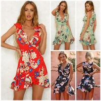 Women Boho Floral Chiffon Summer Party Evening Beach Short Mini Dress Sundress