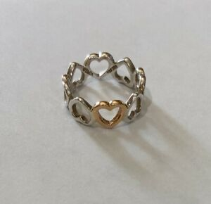 Tiffany & Co Sterling Silver & Rose Gold, Open Hearts Ring