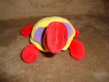"Mary Meyer Turtle 1998 Small Plush & Beans 5"" long x 2.5"" tall Red yellow purple"