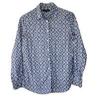 Banana Republic Medium Button Down Blouse Shirt Soft Wash Blue Geometric Pattern