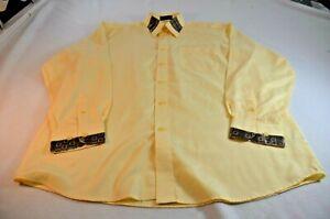 A. Vincenzo Men Button Up Shirt Size L 16-16 1/2 34-35 Yellow Long Sleeve
