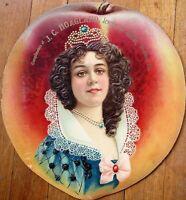 Peach & Woman 1890 Diecut Ad Sign: Embossed Litho - Sheldon, IL Optician/Jeweler