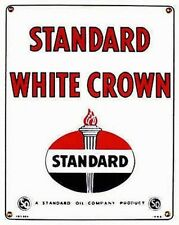 Standard White Crown Gas Pump Front Advertising Sign 15 H x 12 W