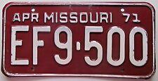Missouri 1971 SINGLE PLATE YEAR License Plate NICE QUALITY # EF9-500