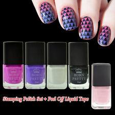 5Pcs Nail Stamping Polish White Black Red Purple & Pink Peel-Off Liquid Tape Kit