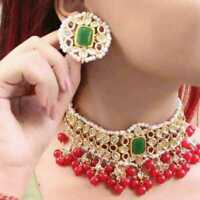Indian Ethnic Gold Plated Pearl Kundan Choker Necklace Earring Bridal Jewelry