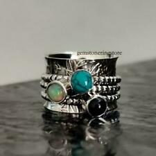 Ethiopian Opal Ring,Solid 925 Sterling Silver Ring Turquoise Spinner Ring,0