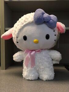 """New Hello Kitty White Lamb Sheep XXL 20"""" Easter Greeter Plush White Purple Bow"""