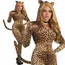 Womens Sly Leopard Costume All in One Jumpsuit Halloween Animal Fancy Dress