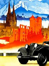 PAINTING TOURISM GERMANY CHURCH CAR RUIN RIVER MOUNTAIN ART POSTER PRINT LV2934