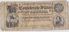 USA Confederate State Richmond 500 dollar note. February 1864.