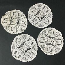 Lot de 4 Petits Napperons Anciens En Dentelle Antique French Embroidery Lace