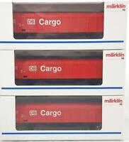 3x MARKLIN 48012 HO 3 RAIL - DB AG CARGO SLIDING WALL BOXCAR WAGONS