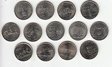 Américain État 'Quarters' UNC 1st 13 Émis Pièces Multi Liste