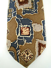 Bill Bass Men's Neck Tie 100% Silk Made in USA Brown Gray Blue Maroon Abstract