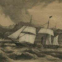 U.S.S. Frigate Mississippi at sea 1856 Perry Expedition old litho view print