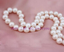 """18"""" 9-10mm White Akoya Pearl Necklace 14K Gold Clasp"""
