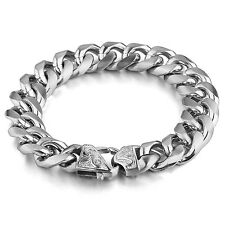 MENDINO Men's Stainless Steel Bracelet Curb Link Fleur de Lis Clasp Crucible