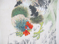 Chinese Painting Watercolor Ink Scroll Rooster Xu Beihong/Qi Baishi Style yqz
