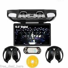 Black 15.6'' Roof Mount Car dvd player Overhead TV Flip Down Monitor+headphones