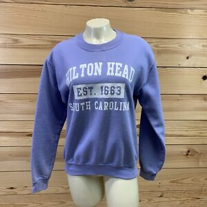 Hilton Head Sweatshirt Small Purple Vintage Gilban Heavy Blend Pullover B74
