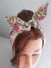 HEAD BAND HAIR SCARF CREAM ROSES PINK GOLD ROCKABILLY 1950 1940 FLORAL NEW