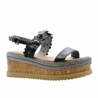 Ladies Womens Flower Cork Wedge Espadrilles Platform Flatform Sandals Shoes Size