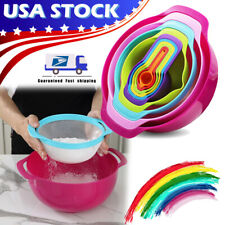 Set of 10 Measuring Cups Spoons Colorful Mixing Bowls Plastic Durable Stackable