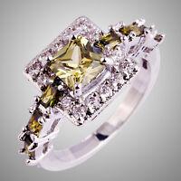 Peridot & White Sapphire Gemstone Silver Rings Size L N P R T Princess Cut Noble